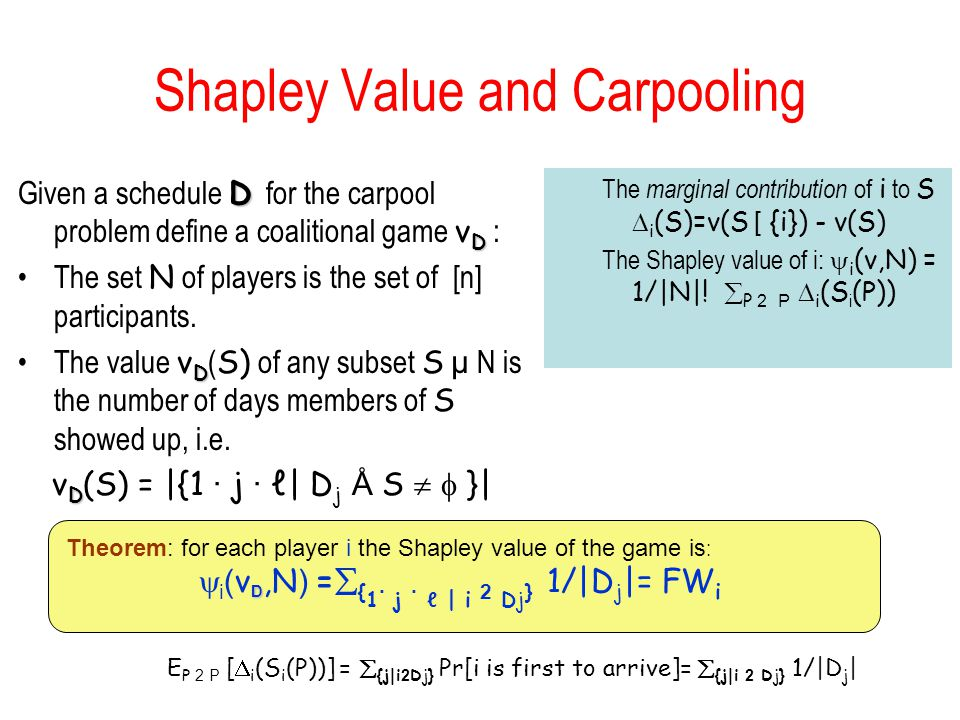 Shapley Value and Carpooling