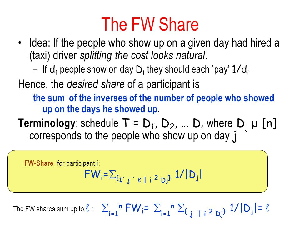 FWi={1· j · ℓ | i 2 Dj} 1/|Dj|