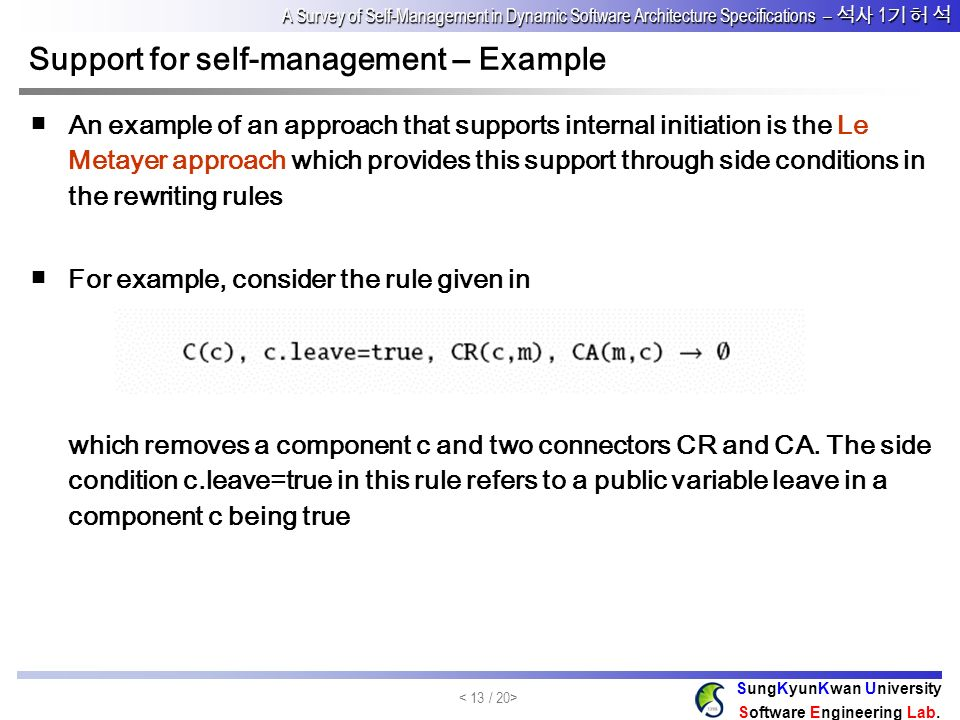 Support for self-management – Example