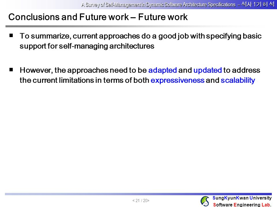 Conclusions and Future work – Future work