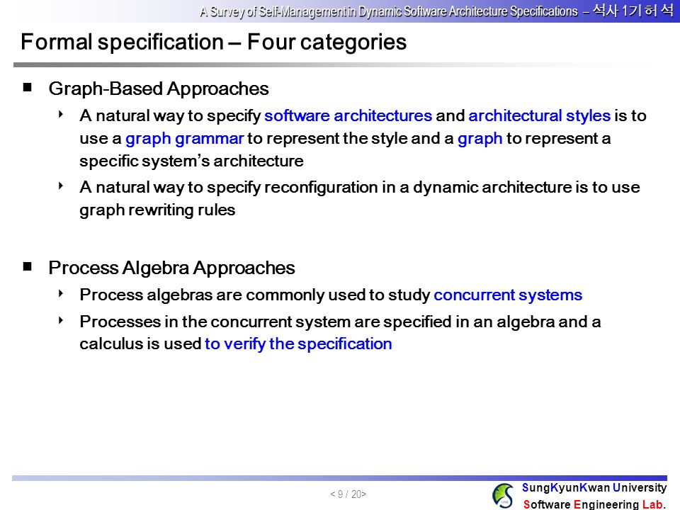 Formal specification – Four categories