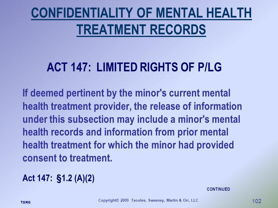 CONFIDENTIALITY OF MENTAL HEALTH TREATMENT RECORDS