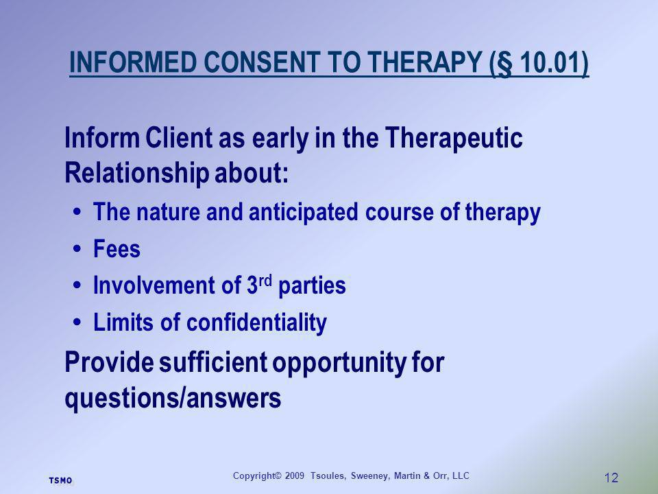 INFORMED CONSENT TO THERAPY (§ 10.01)