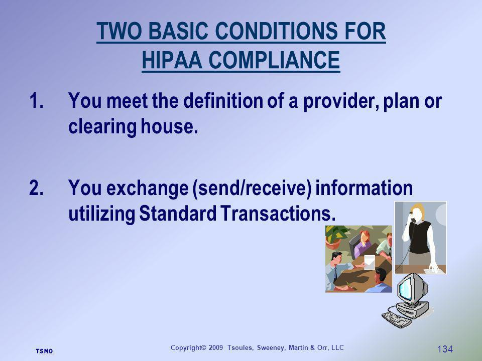 TWO BASIC CONDITIONS FOR HIPAA COMPLIANCE