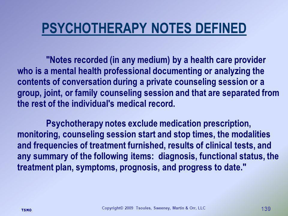 PSYCHOTHERAPY NOTES DEFINED