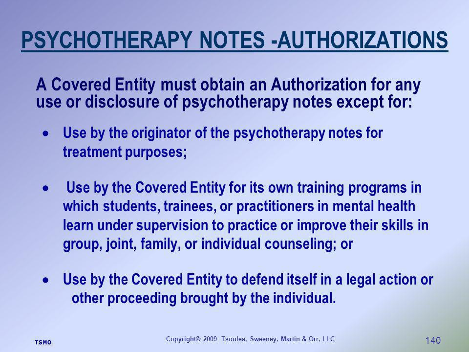 PSYCHOTHERAPY NOTES -AUTHORIZATIONS