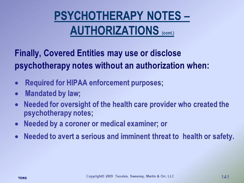 PSYCHOTHERAPY NOTES – AUTHORIZATIONS (cont.)