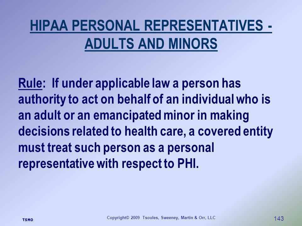 HIPAA PERSONAL REPRESENTATIVES - ADULTS AND MINORS