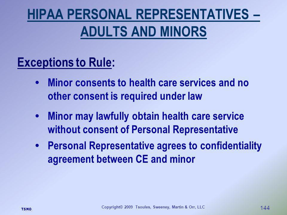 HIPAA PERSONAL REPRESENTATIVES – ADULTS AND MINORS