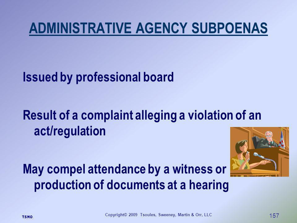 ADMINISTRATIVE AGENCY SUBPOENAS