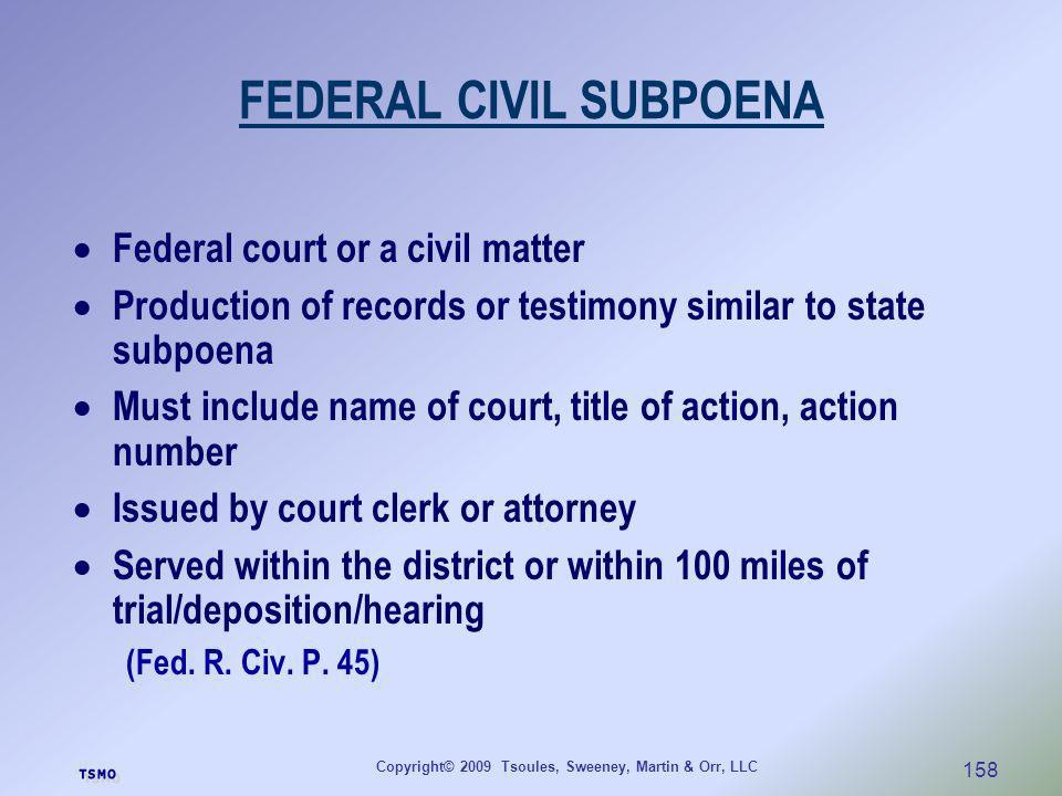 FEDERAL CIVIL SUBPOENA