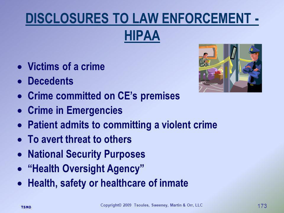 DISCLOSURES TO LAW ENFORCEMENT - HIPAA