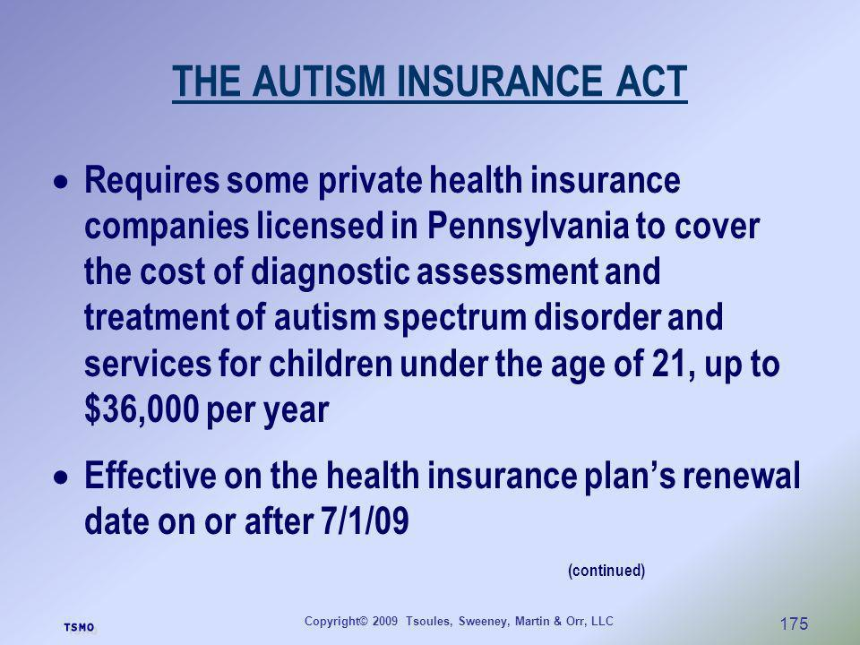 THE AUTISM INSURANCE ACT