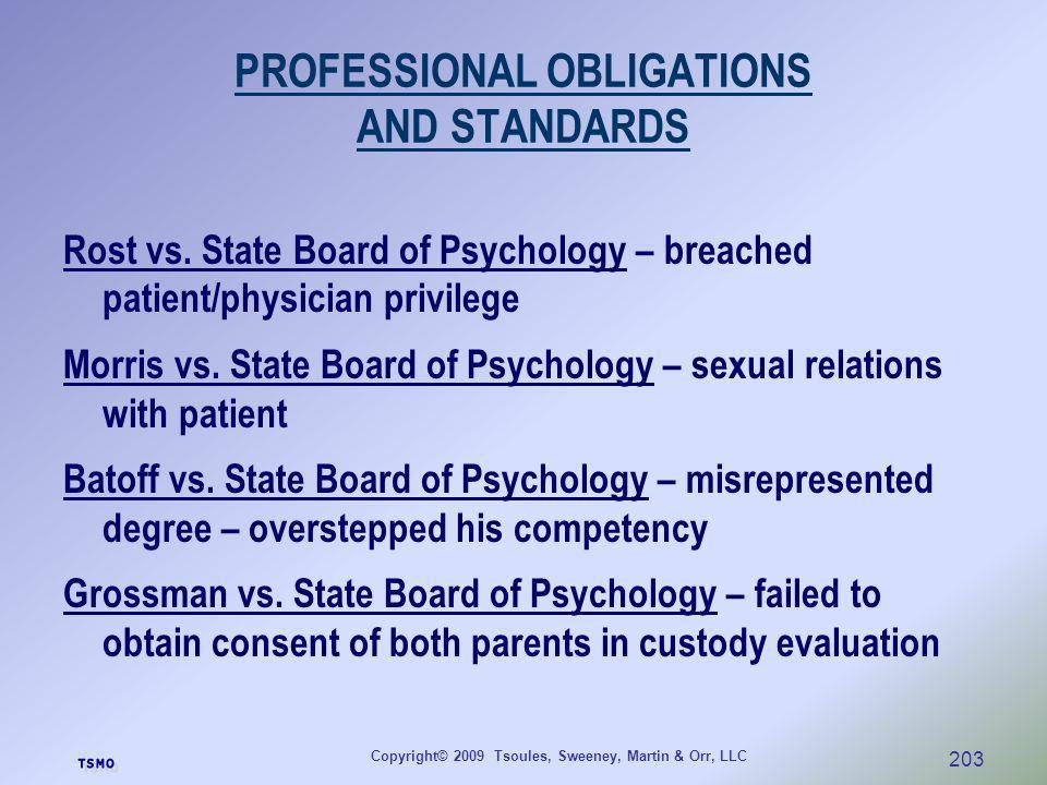 PROFESSIONAL OBLIGATIONS AND STANDARDS