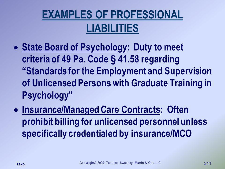 EXAMPLES OF PROFESSIONAL LIABILITIES