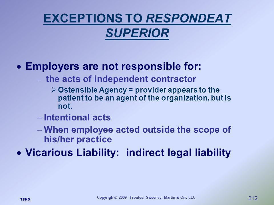 EXCEPTIONS TO RESPONDEAT SUPERIOR