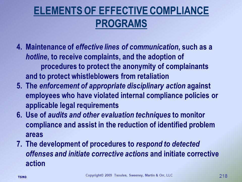 ELEMENTS OF EFFECTIVE COMPLIANCE PROGRAMS