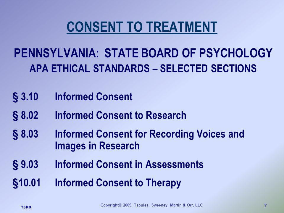 CONSENT TO TREATMENT PENNSYLVANIA: STATE BOARD OF PSYCHOLOGY