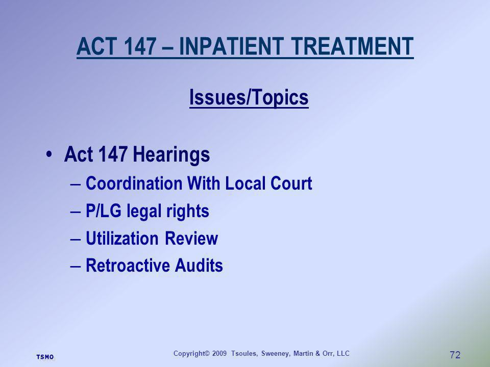 ACT 147 – INPATIENT TREATMENT