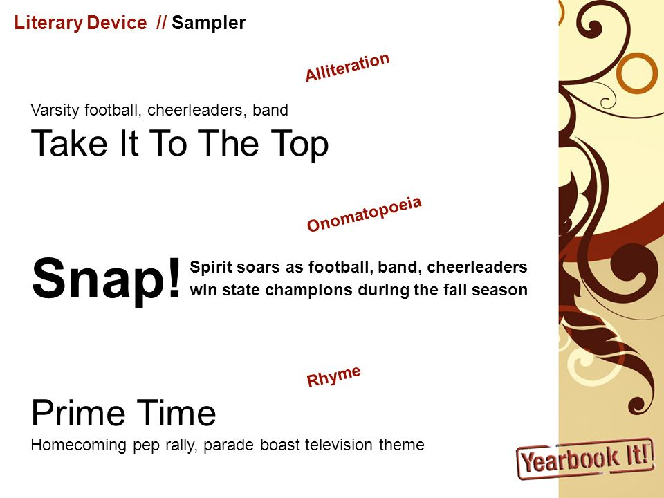 Snap! Take It To The Top Prime Time Literary Device // Sampler