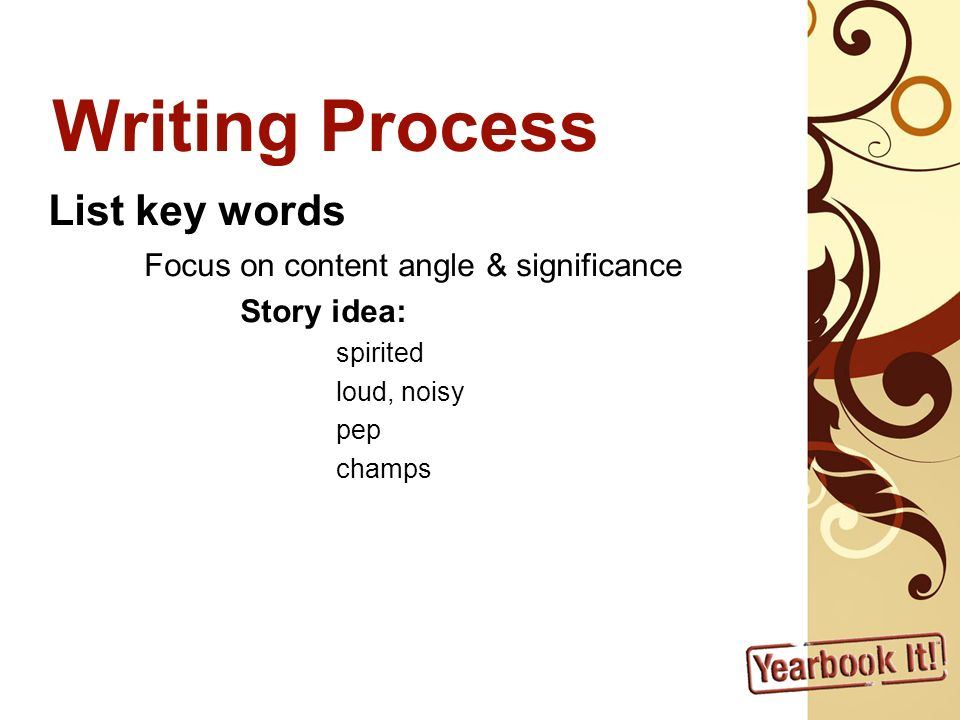 Writing Process List key words Focus on content angle & significance