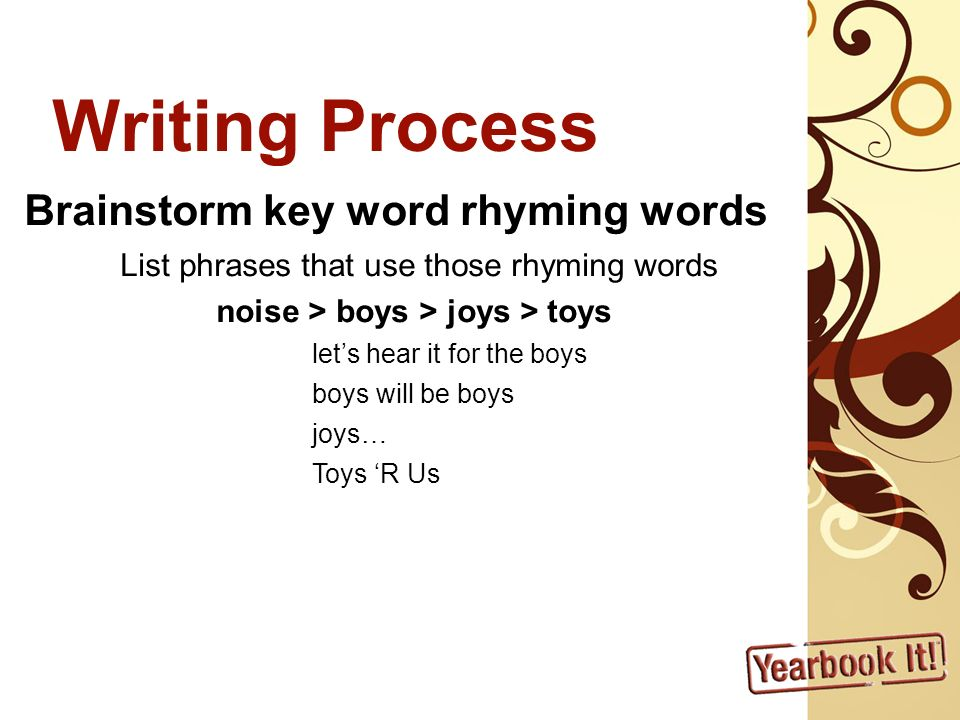 Writing Process Brainstorm key word rhyming words