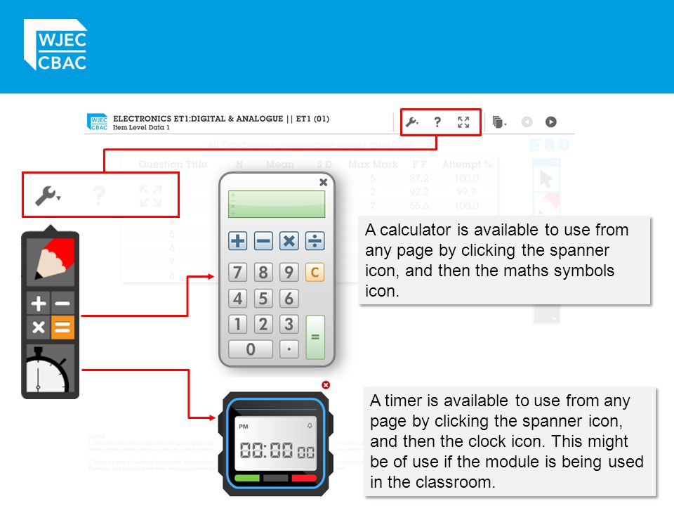 A calculator is available to use from any page by clicking the spanner icon, and then the maths symbols icon.