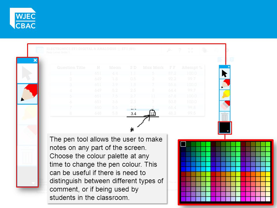 The pen tool allows the user to make notes on any part of the screen.
