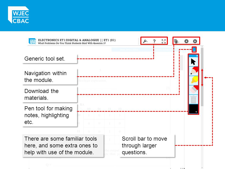 Generic tool set. Navigation within the module. Download the materials. Pen tool for making notes, highlighting etc.