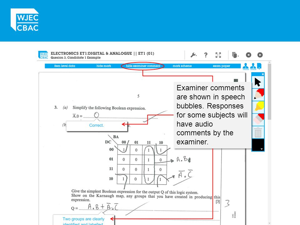 Examiner comments are shown in speech bubbles
