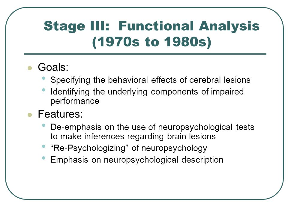 Stage III: Functional Analysis (1970s to 1980s)