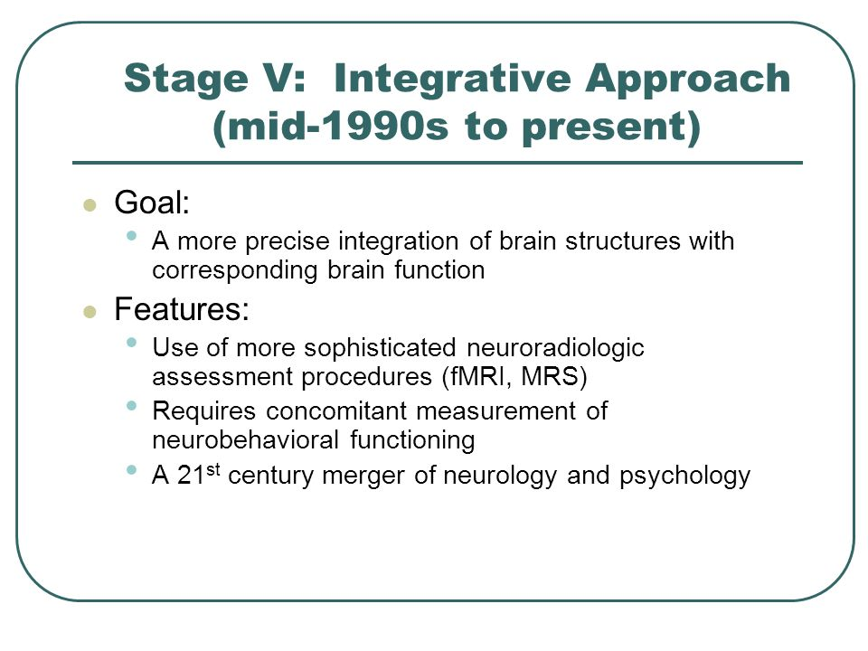 Stage V: Integrative Approach (mid-1990s to present)