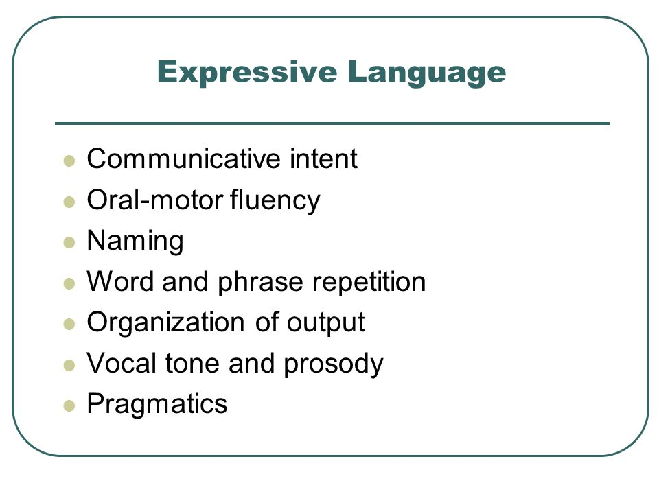 Expressive Language Communicative intent Oral-motor fluency Naming