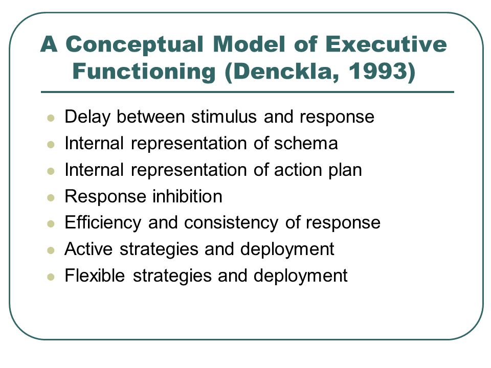 A Conceptual Model of Executive Functioning (Denckla, 1993)