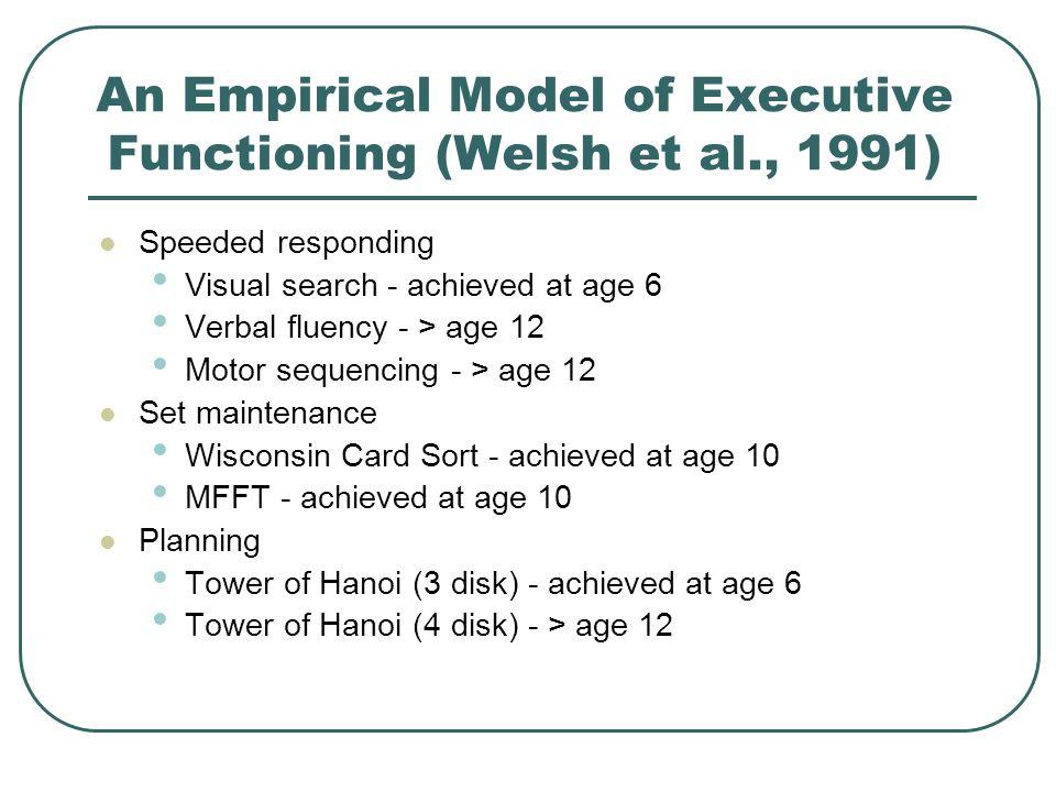 An Empirical Model of Executive Functioning (Welsh et al., 1991)