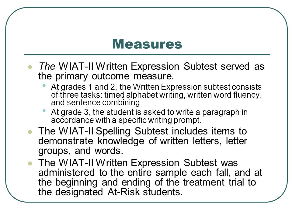 Measures The WIAT-II Written Expression Subtest served as the primary outcome measure.