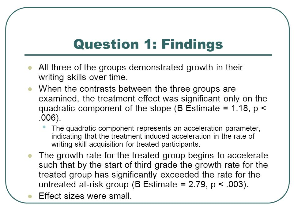 Question 1: Findings All three of the groups demonstrated growth in their writing skills over time.