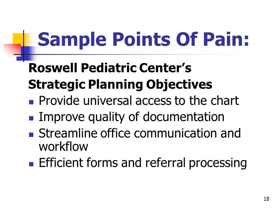 Sample Points Of Pain: Roswell Pediatric Center's