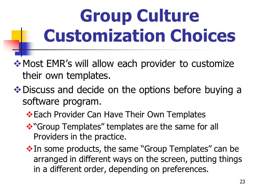 Group Culture Customization Choices