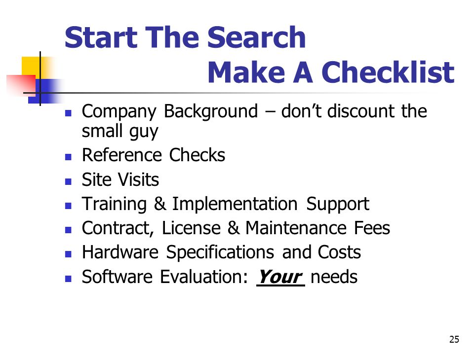 Start The Search Make A Checklist