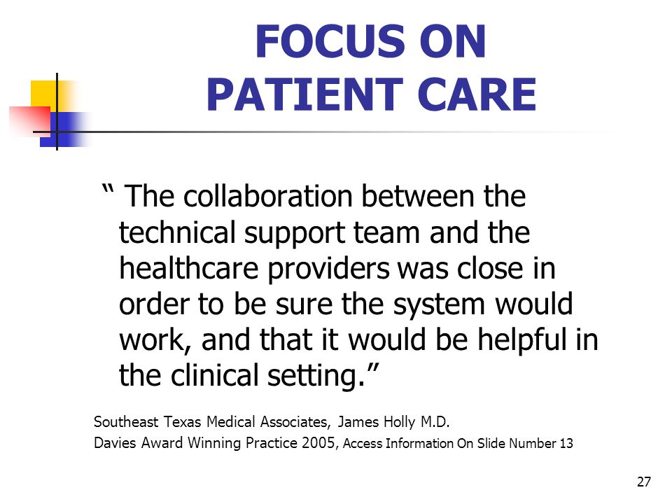 FOCUS ON PATIENT CARE