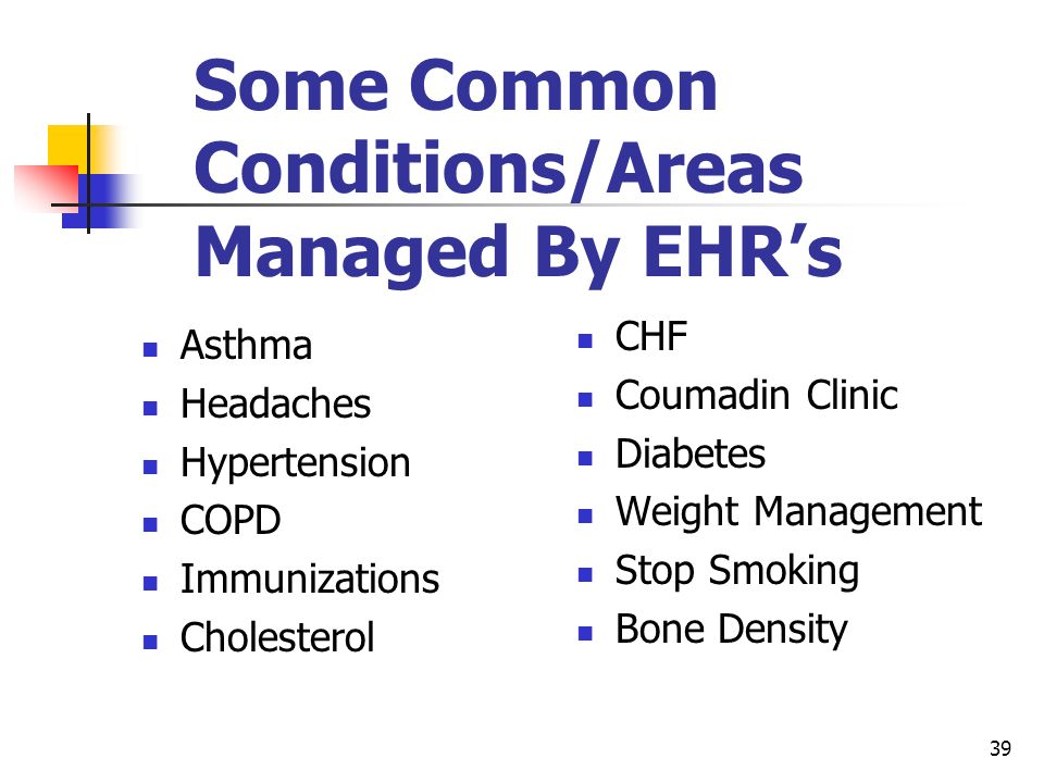 Some Common Conditions/Areas Managed By EHR's