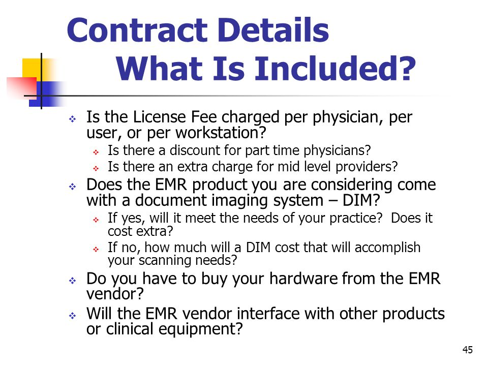 Contract Details What Is Included
