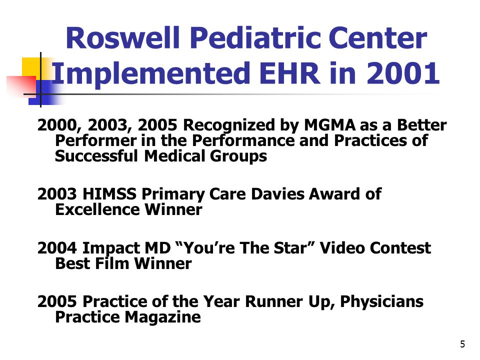 Roswell Pediatric Center Implemented EHR in 2001