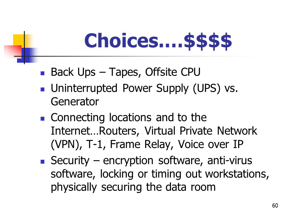 Choices.…$$$$ Back Ups – Tapes, Offsite CPU