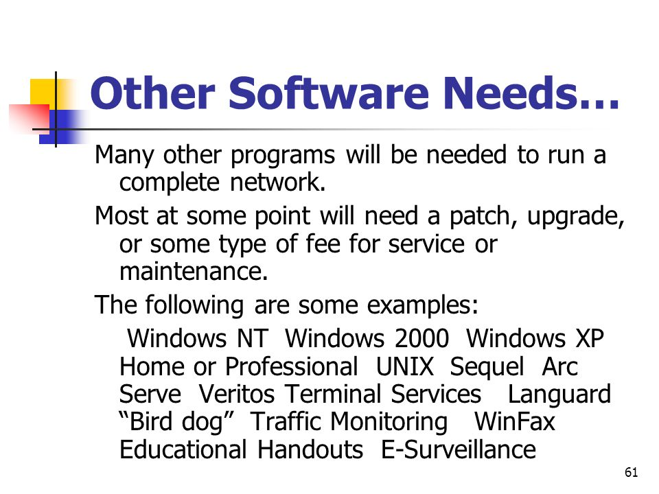 Other Software Needs… Many other programs will be needed to run a complete network.