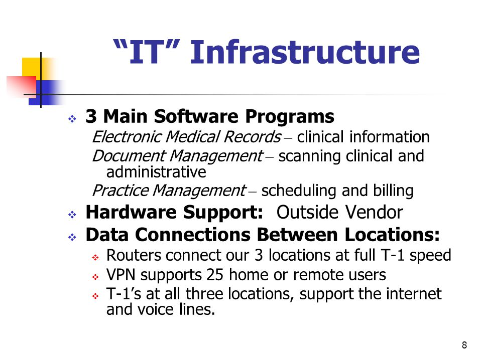 IT Infrastructure 3 Main Software Programs