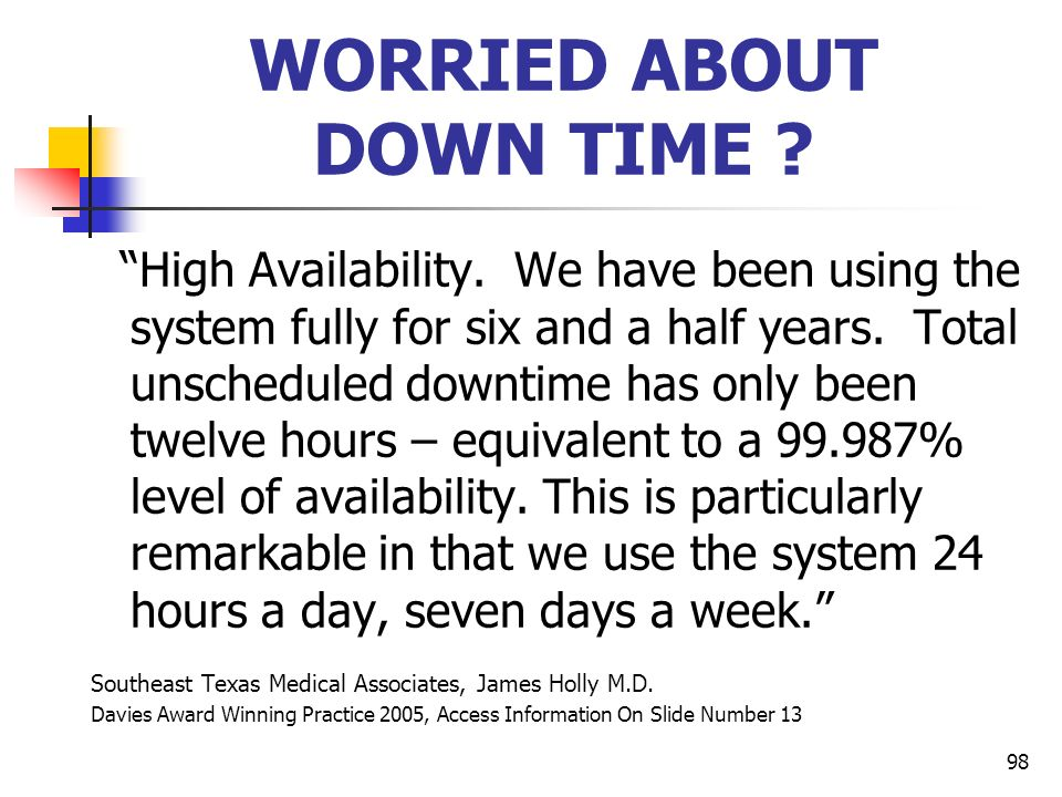 WORRIED ABOUT DOWN TIME