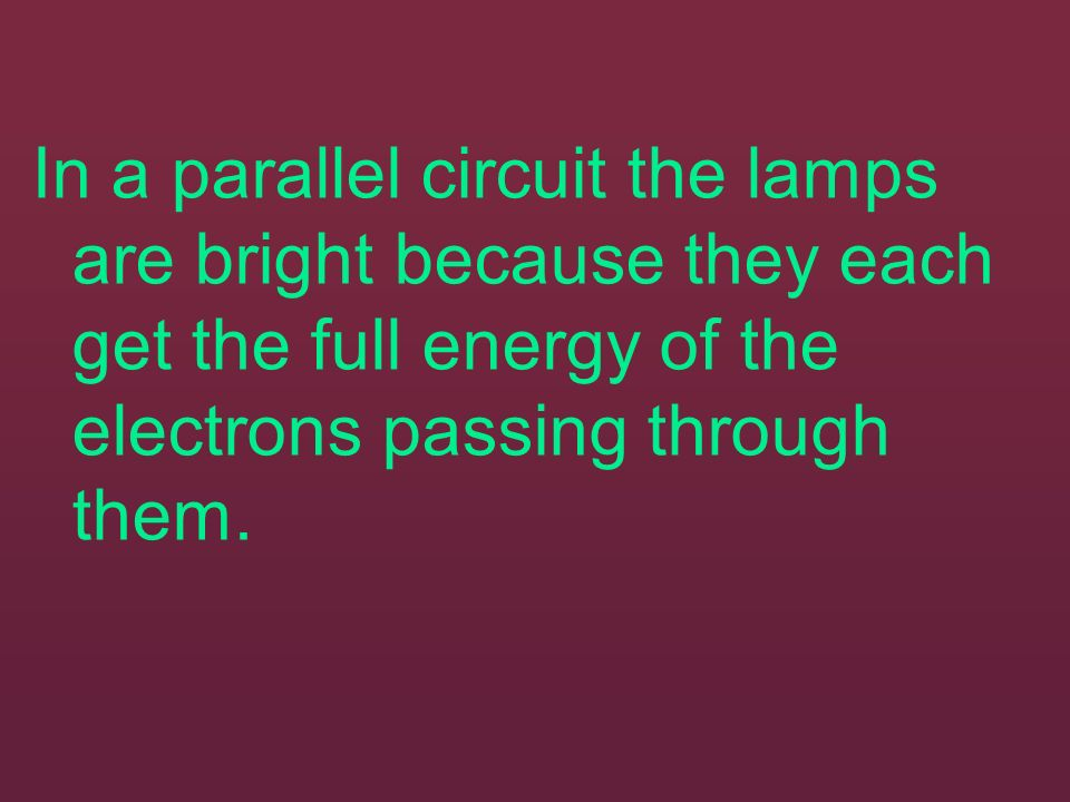 In a parallel circuit the lamps are bright because they each get the full energy of the electrons passing through them.