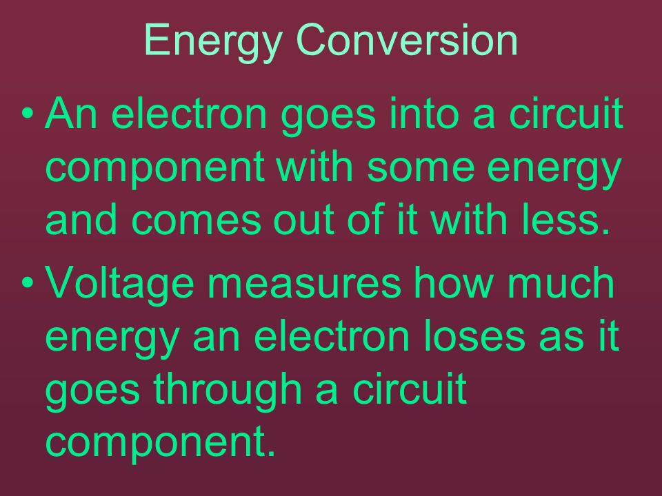 Energy Conversion An electron goes into a circuit component with some energy and comes out of it with less.